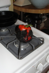 Charring a red pepper