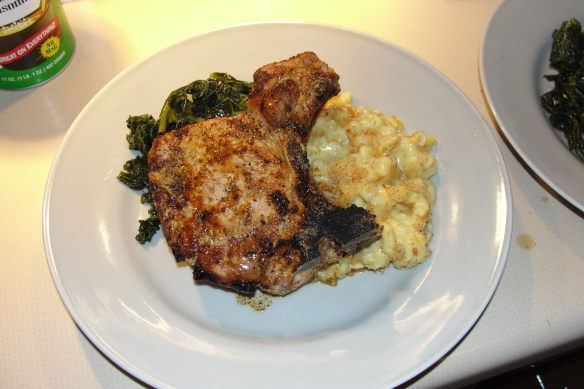 Grilled Double Cut Pork Chop with Braised Kale and Macaroni & Cheese