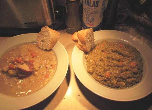 Corn chowder (left) and Vegan split pea (right)